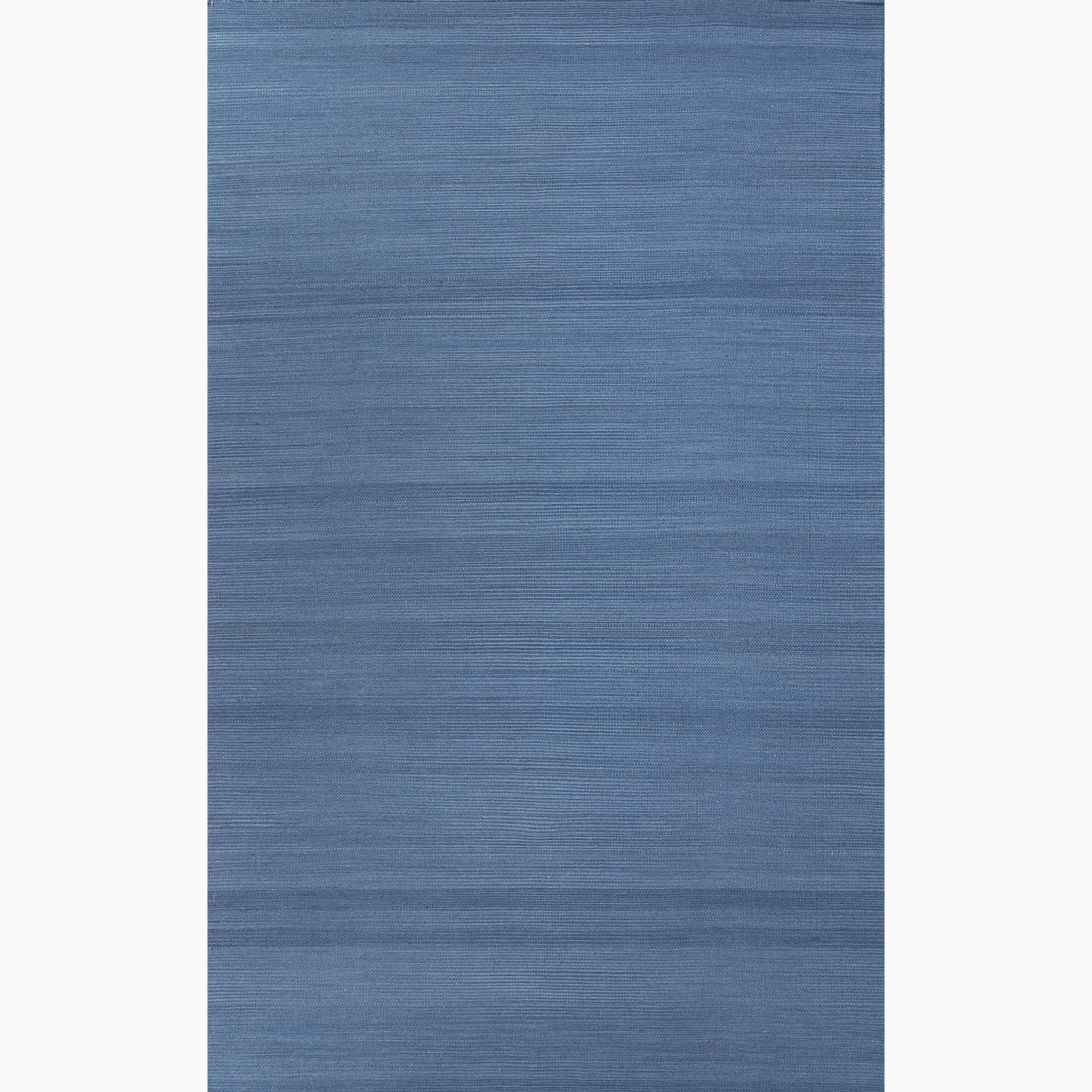 Handmade Solid Pattern Blue Wool Rug (8 x 10)