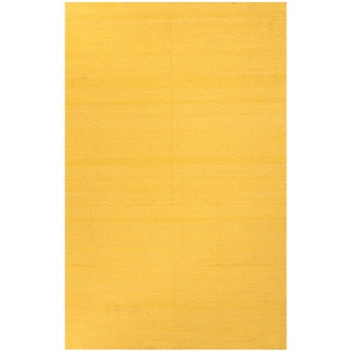 Handmade Solid Pattern Yellow/ Gold Wool Rug (5 x 8)