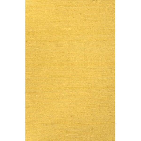 Handmade Solid Pattern Yellow/ Gold Wool Rug (4 x 6)