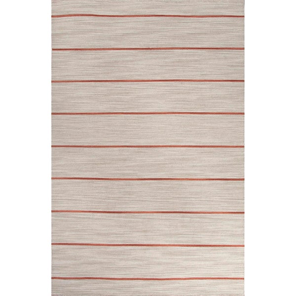 Handmade Stripe Pattern Gray/ Red Wool Rug (4 x 6)