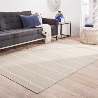 Hand-Made Stripe Pattern Gray/ Ivory Wool Rug (8x10)