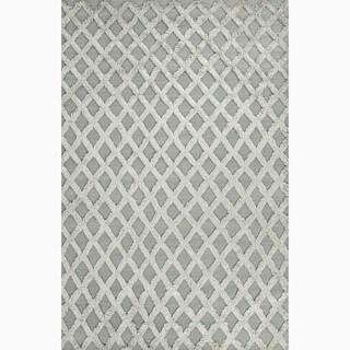 Hand-Made Blue Wool/ Bamboo Silk Textured Rug (5X8)