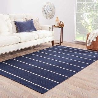 Handmade Stripe Pattern Blue/ Ivory Wool Rug (4 x 6)