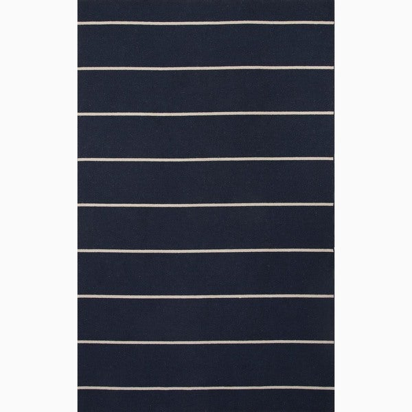 Handmade Stripe Pattern Blue/ Ivory Wool Rug (10 x 14)