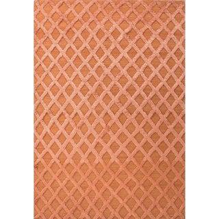 Handmade Red Wool/ Bamboo Silk Te x tured Rug (9 x 12)