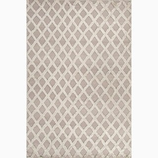 Hand-Made Gray Wool/ Bamboo Silk Textured Rug (4X6)