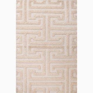 Hand-Made Ivory/ White Wool Textured Rug (9x12)