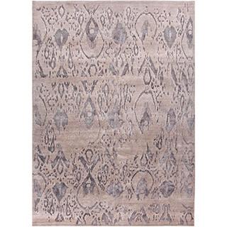Handmade Tribal Pattern Gray Wool/ Bamboo Silk Rug (9 x 12)