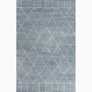 Handmade Moroccan Oriental-pattern Blue/ Ivory Wool Area Rug (5' x 8')