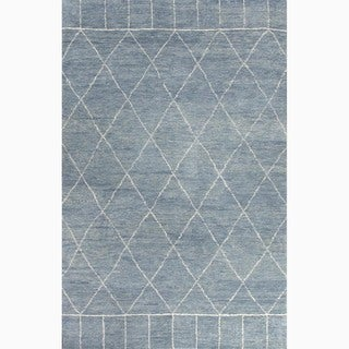 Hand-Made Moroccan Pattern Blue/ Ivory Wool Rug (9x12)