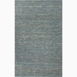 Hand-Made Solid Pattern Blue Jute Rug (5X8)