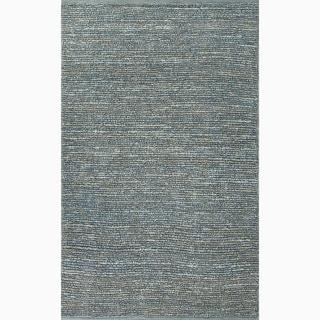 Handmade Solid Pattern Blue Jute Rug (8 x 10)