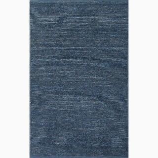Handmade Solid Pattern Blue Jute Rug (3'6 x 5'6)