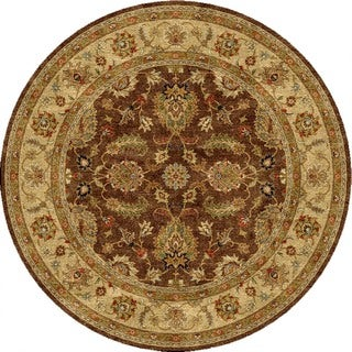 Hand-made Traditional Oriental Pattern Brown/ Tan Wool Rug (8x8)