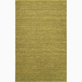 Handmade Solid Pattern Green Jute Rug (5 x 8)