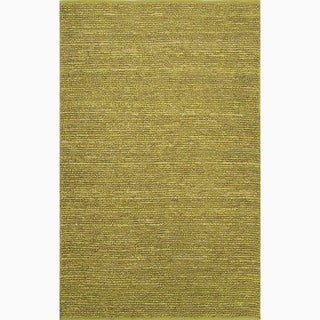 Hand-Made Solid Pattern Green Jute Rug (8x10)