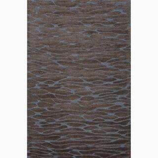 Handmade Gray/ Blue Wool/ Art Silk Te x tured Rug (9 x 12)