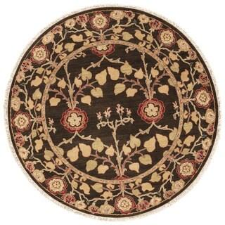 Handmade Arts and Craft Pattern Brown/ Yellow Wool Rug (6 x 6)