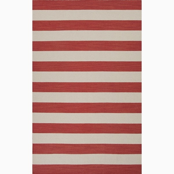 Handmade Stripe Pattern Red/ Ivory Wool Rug (2 x 3)