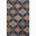 Hand-Made Blue/ Tan Wool Looped Pile Rug (8x10)