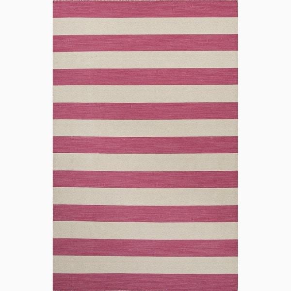 Handmade Stripe Pattern Pink/ Ivory Wool Rug (8 x 10)