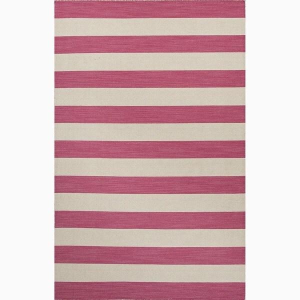 Handmade Stripe Pattern Pink/ Ivory Wool Rug (2 x 3)