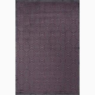 Hand-Made Geometric Pattern Gray/ Purple Silk/ Chenille Rug (7.6x9.6)
