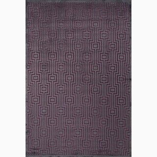 Handmade Geometric Pattern Gray/ Purple Art Silk/ Chenille Rug (9 x 12)