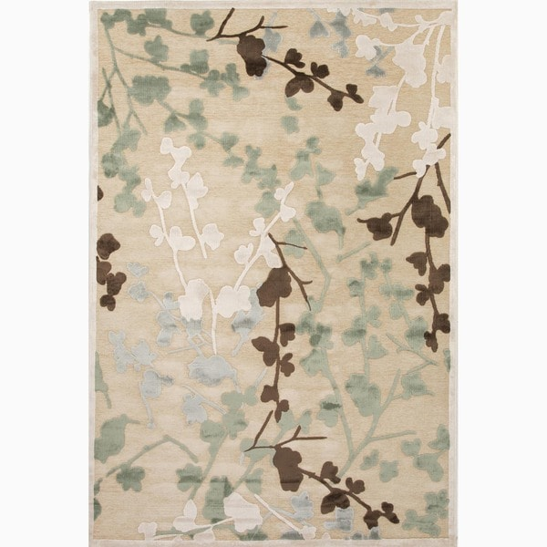 Hand-Made Ivory/ White Art Silk/ Chenille Transitional Rug (7.6x9.6)