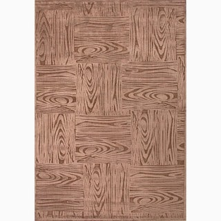 Hand-Made Taupe/ Brown Art Silk/ Chenille Transitional Rug (7.6x9.6)