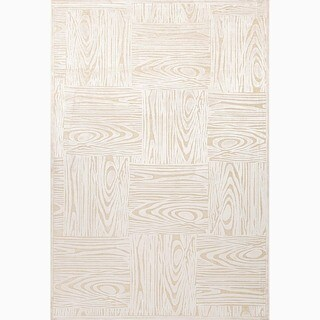 Hand-Made Ivory/ Taupe Art Silk/ Chenille Transitional Rug (7.6x9.6)
