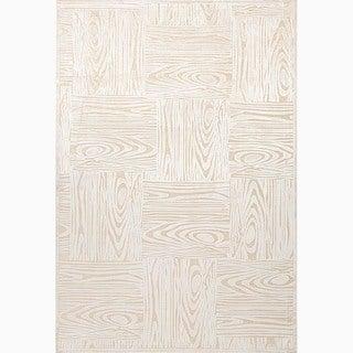 Handmade Ivory/ Taupe Art Silk/ Chenille Transitional Rug (9 x 12)