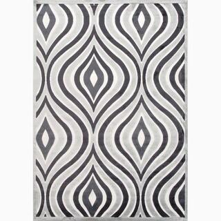 Handmade Gray/ Ivory Art Silk/ Chenille Modern Rug (5 x 7'6)