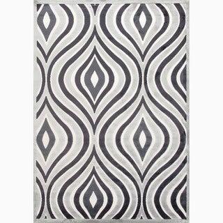 Handmade Gray/ Ivory Art Silk/ Chenille Modern Rug (7'6 x 9'6)