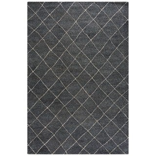 Hand-Made Gray/ Ivory Wool Easy Care Rug (9x12)