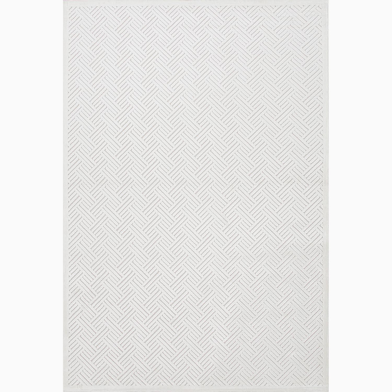 Handmade Ivory/ White Art Silk/ Chenille Modern Rug (9 x 12)
