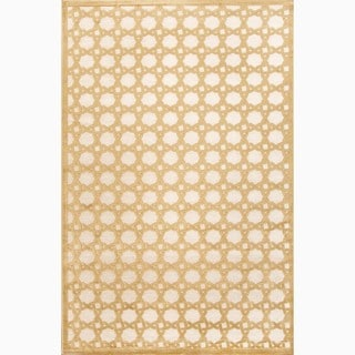 Hand-Made Ivory/ Yellow Art Silk/ Chenille Modern Rug (5x7.6)