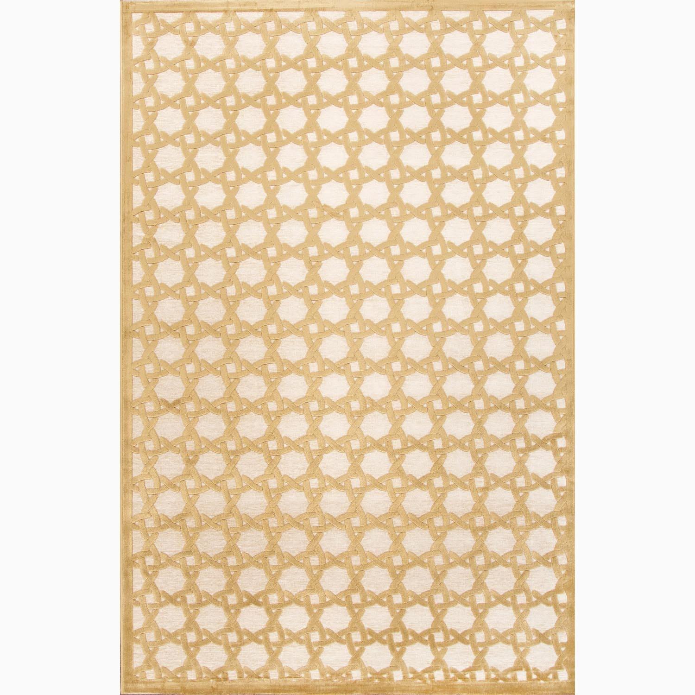 Handmade Ivory/ Yellow Art Silk/ Chenille Modern Rug (9 x 12)