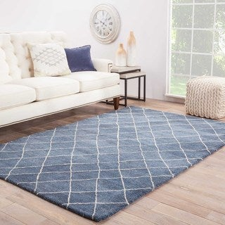 Hand-Made Blue/ Ivory Wool Easy Care Rug (5X8)