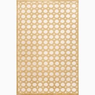 Handmade Ivory/ Yellow Art Silk/ Chenille Modern Rug (7'6 x 9'6)