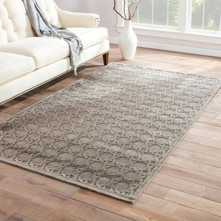 Grey Art Silk/ Chenille Modern Rug (7'6 x 9'6)