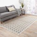 Hand-Made Ivory/ Gray Art Silk/ Chenille Modern Rug (5x7.6)
