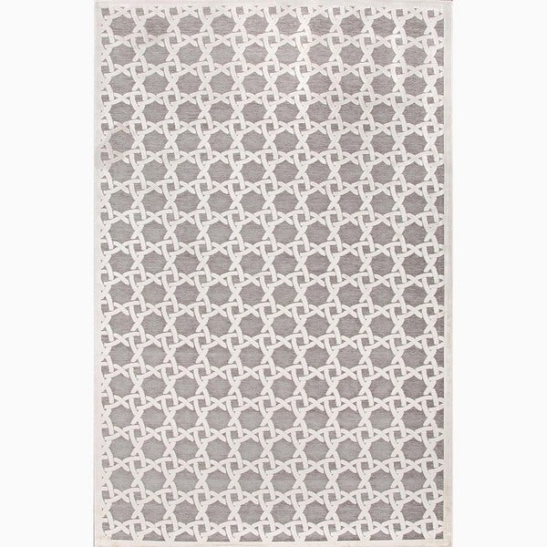 Handmade Ivory/ Gray Art Silk/ Chenille Modern Area Rug (7'6 x 9'6)