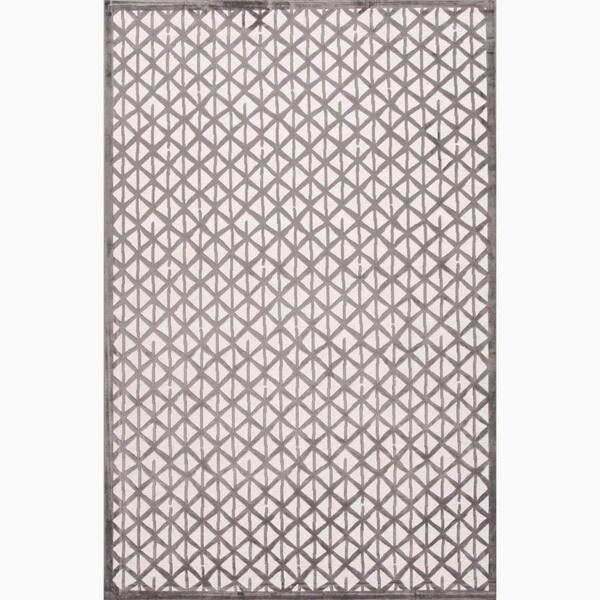 Handmade Ivory/ Gray Art Silk/ Chenille Modern Rug (7'6 x 9'6)