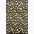 Handmade Black/ Yellow Art Silk/ Chenille Modern Rug (5 x 7'6)
