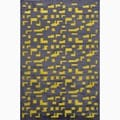Hand-Made Black/ Yellow Art Silk/ Chenille Modern Rug (2X3)