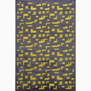 Hand-Made Black/ Yellow Art Silk/ Chenille Modern Rug (9x12)