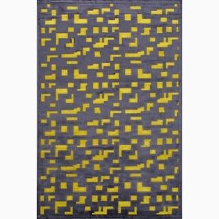 Handmade Black/ Yellow Art Silk/ Chenille Modern Rug (7'6 x 9'6)