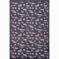 Hand-Made Black/ Gray Art Silk/ Chenille Modern Rug (5x7.6)