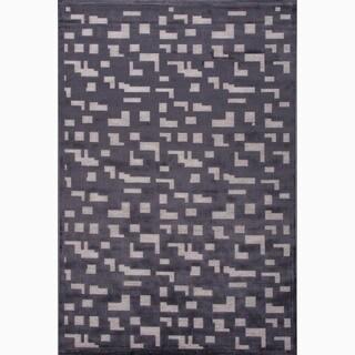 Handmade Black/ Gray Art Silk/ Chenille Modern Rug (9 x 12)